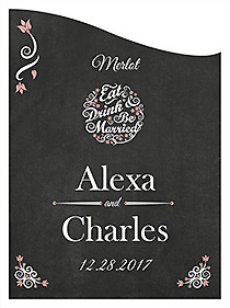 Customized Eat Drink be Married Chalkboard Curved Rectangle Wine Wedding Label