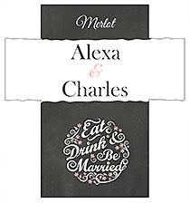 Customized Eat Drink be Married Chalkboard Rectangle Wine Wedding Label 3.5x3.75
