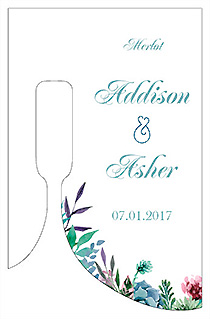 Customized Spring Meadow Flowers Bottom's Up Rectangle Wine Wedding Label