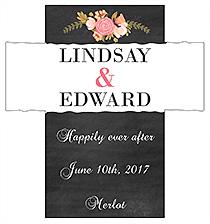 Customized Floral Chalkboard Rectangle Wine Wedding Label 3.5x3.75