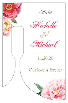 Customized Floral Elegant Summer Poppy Bottom's Up Rectangle Wine Wedding Label