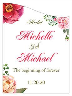 Customized Floral Elegant Summer Poppy Curved Rectangle Wine Wedding Label