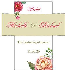 Customized Floral Elegant Summer Poppy Rectangle Wine Wedding Label 3.5x3.75