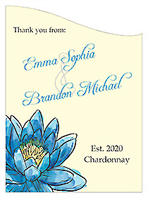 Customized Floral Fairytale Flower Curved Rectangle Wine Wedding Label