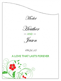 Customized Flowers Curved Rectangle Wine Wedding Label