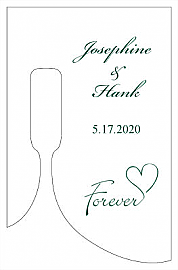 Forever Swirly Small Bottoms Up Rectangle Wine Wedding Label