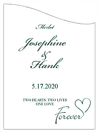 Customized Forever Swirly Curved Rectangle Wine Wedding Label