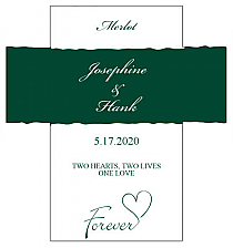 Customized Forever Swirly Rectangle Wine Wedding Label 3.5x3.75
