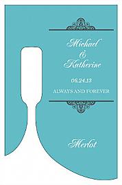 Glamorous Bottom's Up Rectangle Wine Wedding Label