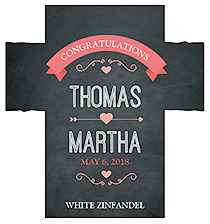 Customized Hearts of Love Chalkboard Style Rectangle Wine Wedding Label 3.5x3.75