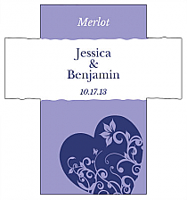 Customized Hearts of Love Rectangle Wine Wedding Label 3.5x3.75