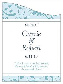 Customized Honeymoon Waves Curved Rectangle Wine Wedding Label