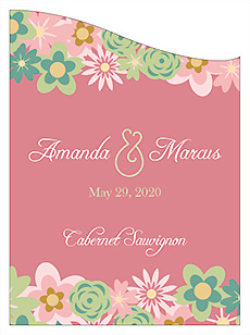 Customized Infinity Floral Wreath Curved Rectangle Wine Wedding Label