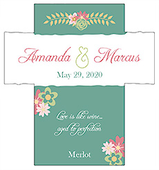 Customized Infinity Floral Wreath Rectangle Wine Wedding Label 3.5x3.75