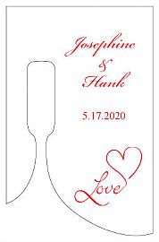 Love Swirly small Bottoms Up Rectangle Wine Wedding Label
