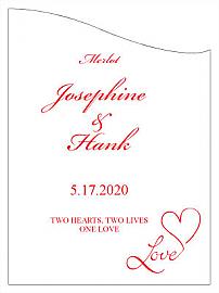 Customized Love Swirly Curved Rectangle Wine Wedding Label