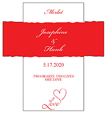 Customized Love Swirly Rectangle Wine Wedding Label 3.5x3.75