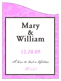 Customized Magnolia Curved Rectangle Wine Wedding Label