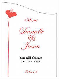Customized Orchid Curved Rectangle Wine Wedding Label