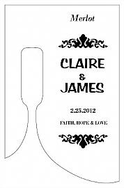 Customized Paisley Bottom's Up Rectangle Wine Wedding Label