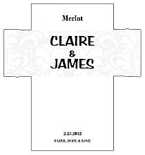 Customized Paisley Rectangle Wine Wedding Label 3.5x3.75