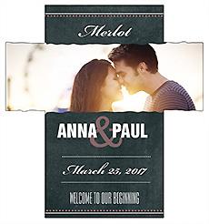 Customized Romantic Photo Chalkboard Rectangle Wine Wedding Label 3.5x3.75