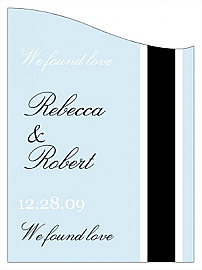 Customized Simple Portrait Curved Rectangle Wine Wedding Label