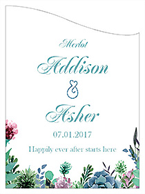 Customized Spring Meadow Flowers Curved Rectangle Wine Wedding Label