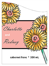 Customized Summer Floral Trio Curved Rectangle Wine Wedding Label