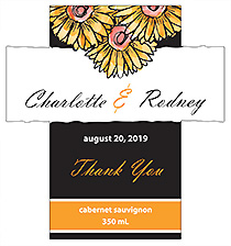 Customized Summer Floral Trio Rectangle Wine Wedding Label 3.5x3.75