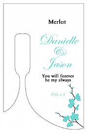 Summer Orchid Small Bottoms Up Rectangle Wine Wedding Label