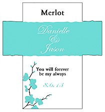 Customized Summer Orchid Rectangle Wine Wedding Label 3.5x3.75