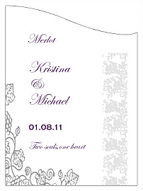 Customized Vintage Curved Rectangle Wine Wedding Label