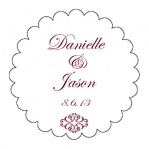 Decor Scalloped Circle Wedding Labels