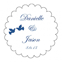 Doves Scalloped Circle Wedding Labels