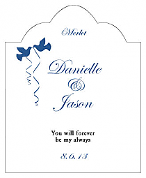 Doves Scalloped Vertical Big Rectangle Wedding Labels