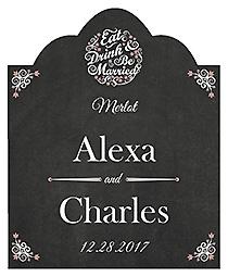 Eat Drink be Married Chalkboard Scalloped Vertical Big Rectangle Wedding Labels