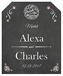 Eat Drink be Married Chalkboard Wine Wedding Label