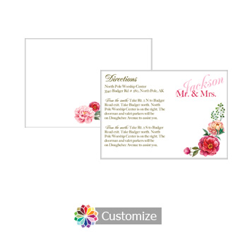 Floral Elegant Summer Poppy 5 x 3.5 Directions Enclosure Card