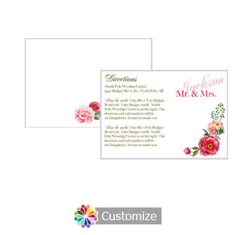 Floral Elegant Summer Poppy 5 x 3.5 Directions Enclosure Card