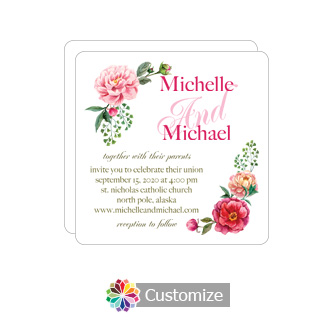 Rounded Floral Elegant Summer Poppy Wedding Flat Square Invitation Card 5.875 x 5.875