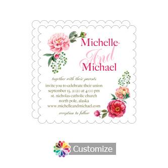 Scalloped Floral Summer Poppy Wedding Invitation Card 5 x 7.875