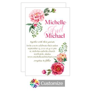 Floral Elegant Summer Poppy Wedding Invitation Card 5 x 7.875