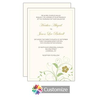 Cream Clover Floral 5 x 7.875 Flat Card Wedding Invitation