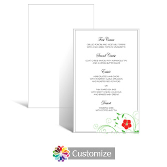 Floral 5 x 7.875 Rectangle Flat Wedding Menu