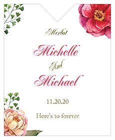 Floral Elegant Summer Poppy Wine Wedding Label 3.25x4
