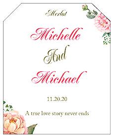 Floral Elegant Summer Poppy Wine Wedding Label