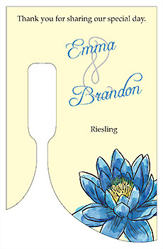 Customized Floral Fairytale Flower Bottom's Up Rectangle Wine Wedding Label