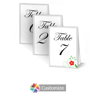 Floral 3.5 x 5 Large Folded Wedding Table Number