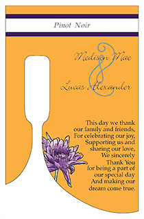 Customized Floral Lovely Lavender Bottom's Up Rectangle Wine Wedding Label